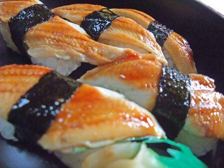 A lot of conger nigiri sushi Stockfoto