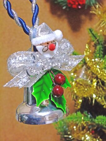Silver bell with Santa Claus mascot
