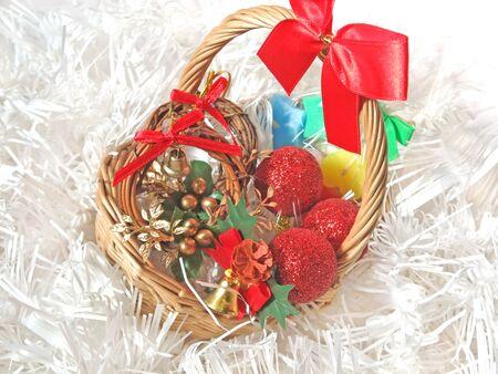 Christmas miscellaneous goods in a basket Banco de Imagens - 143073321