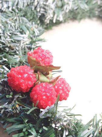 Crafted raspberry ornaments for use at Christmas