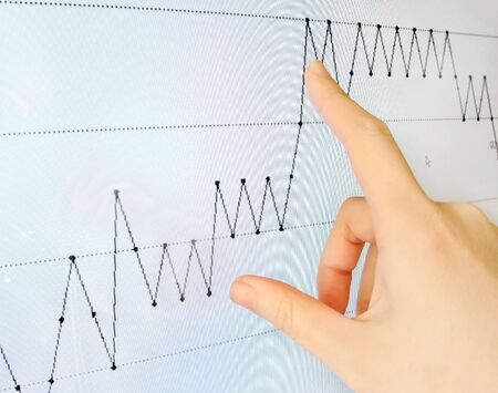 Pointing to a line graph