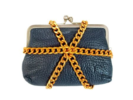 A chain is wrapped around the wallet