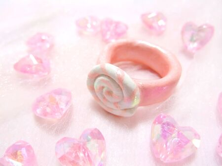 Candy shaped pink toy ring