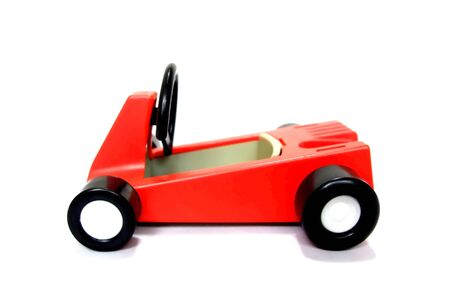 There is a red toy car