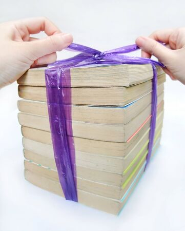 Wrapped with plastic string to dispose of used books