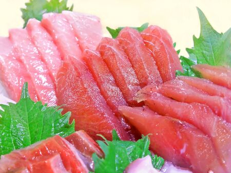 Fresh tuna sashimi is served Banco de Imagens