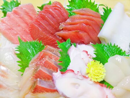 Various types of sashimi are served Banco de Imagens