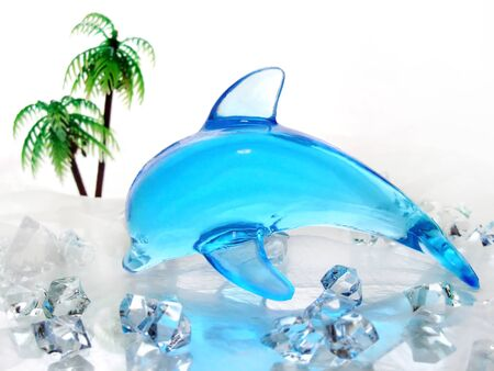 Blue dolphin ornament made of glass