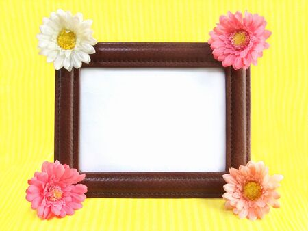 Photo frame decorated with gerbera Banco de Imagens