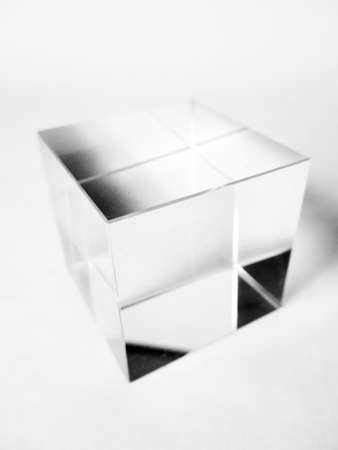 Colorless and transparent glass cube