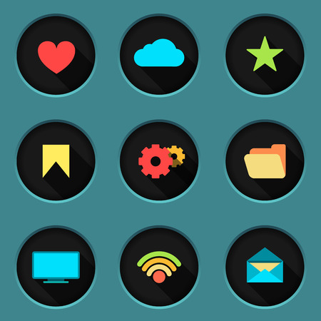 ico: Flat icon set basic icons. EPS10. Vector