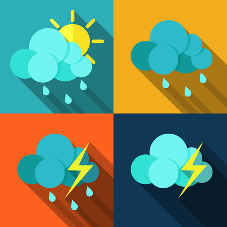 climatology: Set of icons with weather style flat with long shadows. Vector.