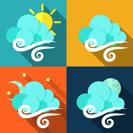 weather terms: Set of icons with weather style flat with long shadows. Vector.