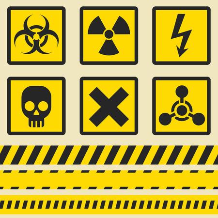 Waarschuwingsborden, symbolen. Vector icon set. Naadloze tape.