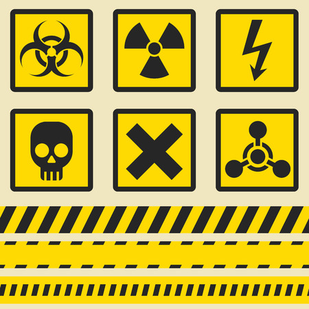 hazard tape: Warning signs, symbols. Vector icon set. Seamless tape.