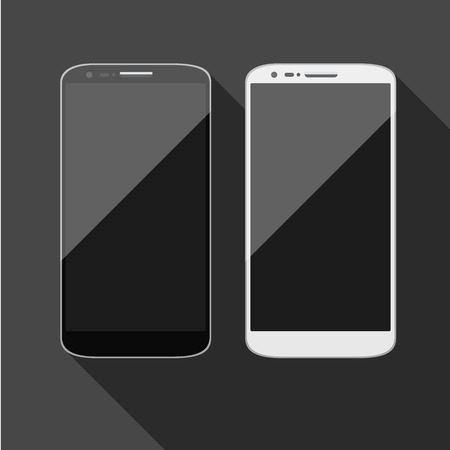 Isolated touch screen smartphone, vector with grey screen. Vector