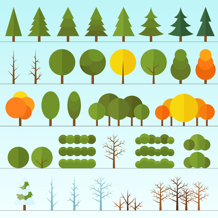 Different trees collection isolated. Vector. In flat style Stock Illustratie