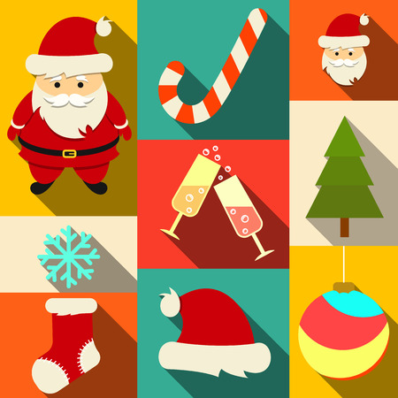 Set of Christmas flat icons with long shadows. Vector.  Vector