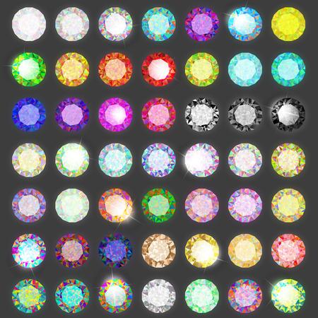 Set van gekleurde edelstenen. Jewel ingesteld. Diamant. Eps10 Stock Illustratie