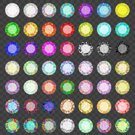 Set of colored gems. Jewel set. Diamond. Eps10 Vectores