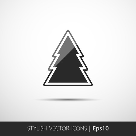 gloss: Christmas tree icon, gloss silhouette in eps10