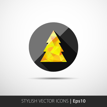 tree disc: polygon christmas tree on merry christmas, happy new year 2015 concept with party icon vector