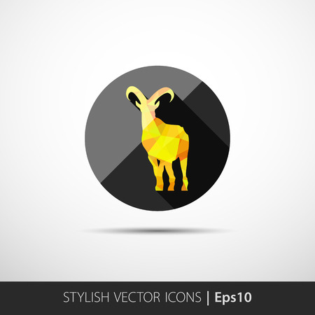 colorful illustration with silhouette of goat in polygonal style Vector
