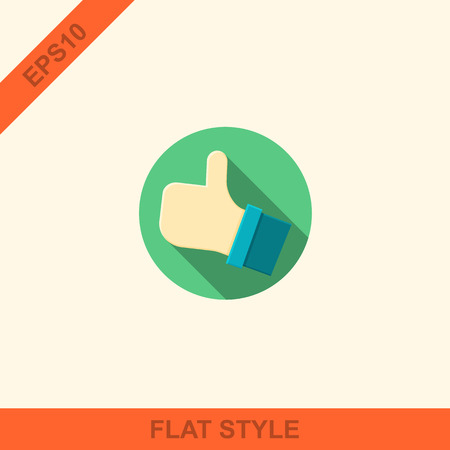 Flat style with long shadows, thumbs up vector icon illustration. Vector