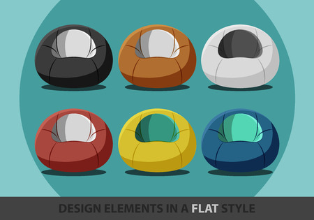 chair: flexible seat beanbag in a flat style. Vector.  Illustration