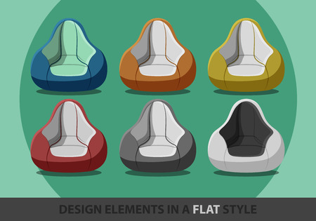 flexible seat beanbag in a flat style. Vector.  Illustration