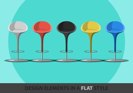 sgabelli: Set di sgabelli colorati in uno stile piatto. Vector. Vettoriali