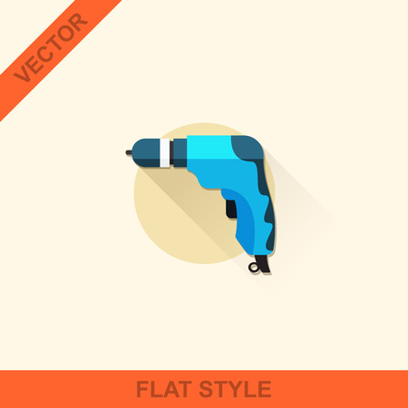 auger: Vector drill in a flat style with a long shadow.  Illustration