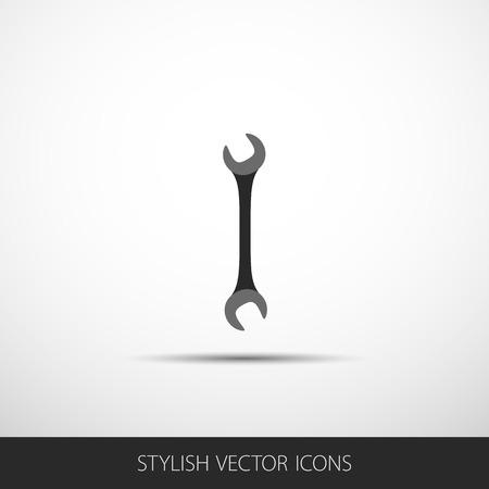 screw key: Wrench key sign icon. Service tool symbol. Flat icon with shadow. Vector