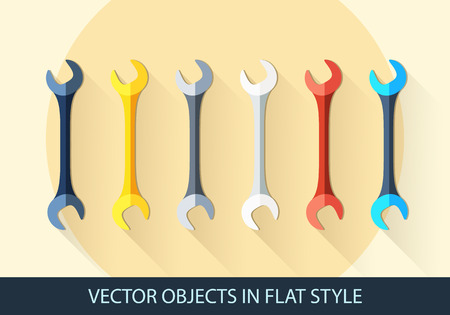 screw key: Set of wrench key sign icon. Service tool symbol. Flat icon with shadow. Vector Illustration