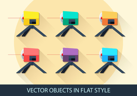 leveling: Set of vector leveling in a flat style with shadow.  Illustration
