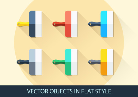 heatproof: Set of vector spatula in a flat style with shadow.  Illustration