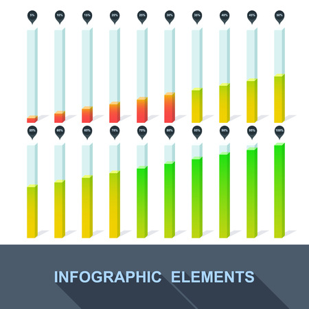 progress, infographics, statistics with interest in the flat style. Vector Vector