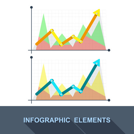 grow up: vector flat Business graph and chart on grey background. grow up arrow. Illustration