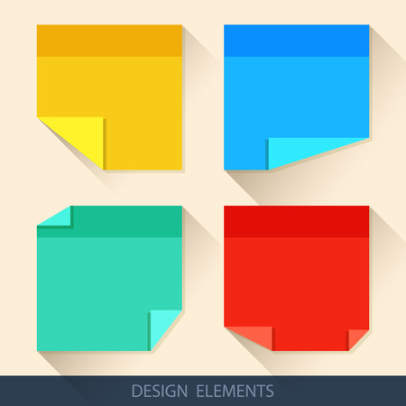 yellow notepad: Colored stickers, paper for notes in a flat style with curved corners Illustration