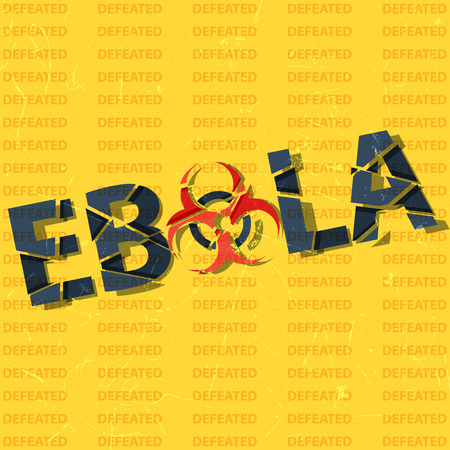 ebola: Ebola background. Broken inscription. Ebola has been defeated.
