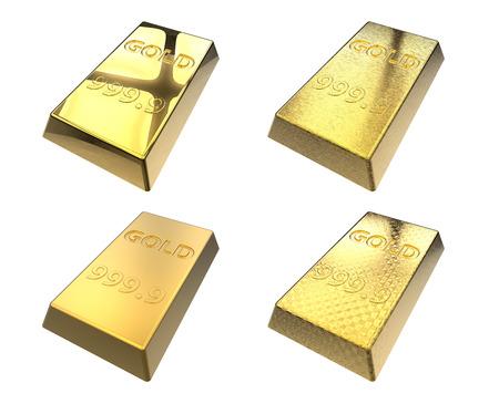 Set of gold bars isolated on white background photo