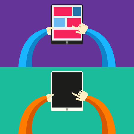 Tablet PC in human hands. Flat style vector illustration  Vector