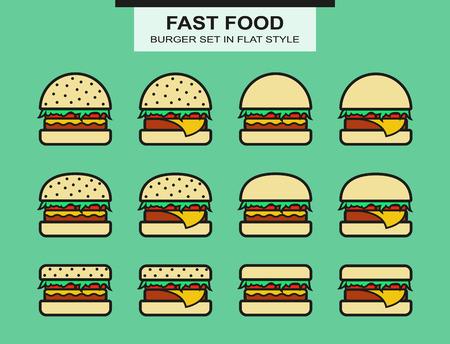 hamburguesa: Conjunto de diversa forma de hamburguesas. Estilo Flat. Vector Vectores