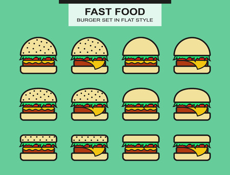 cheeseburger: Set of different shape of burgers. Flat style. Vector