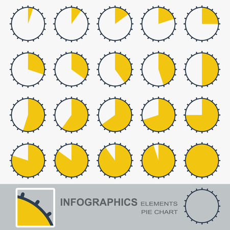 segmented: Set of the segmented, circular charts with notches. Vector Illustration