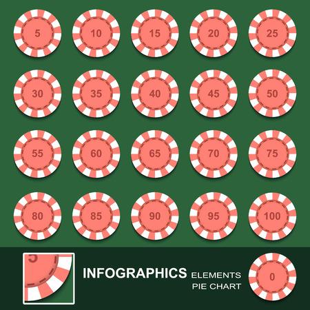 fichas casino: Conjunto de contadores de un casino con valores numéricos. Vector Vectores