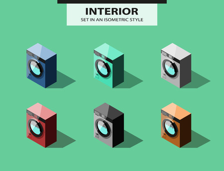 Set of washing machines in isometric style. Vector