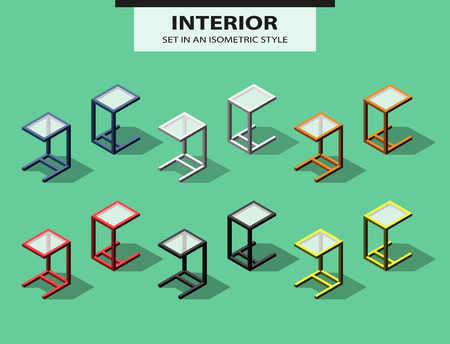 are added: Set of added tables in isometric style. Vector