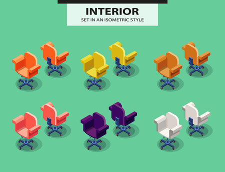 Wheel chair: Set of office chairs in isometric style. Vector Illustration