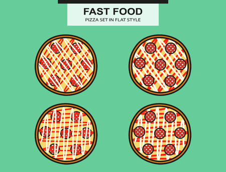 claret: Pizza set with a salami in flat style. Vector